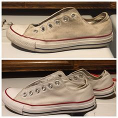 cleaning white converse: 1. mix 1 cup of baking soda and 1 & 1/2 cups of laundry detergent.. 2. soak in cold water 3. then scrub the mix all over the shoes with a tooth brush. (scrub as many times as you feel needed) 4. wash your laces with the mix in your hands as if you're washing your hands. 5. next throw in the washing machine on whites or perm press and wash. 6. let them air dry outside or on top of the washer and dryer  (before on top, after on bottom)