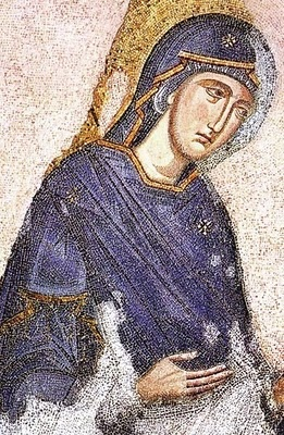 """The Deesis Mosaic, Hagia Sophia, Istanbul   In Byzantine art, and later Eastern Orthodox art generally, the Deësis or Deisis (Greek: δέησις, """"prayer"""" or """"supplication""""), is a traditional iconic representation of Christ in Majesty or Christ Pantocrator: enthroned, carrying a book, and flanked by the Virgin Mary and St. John the Baptist, and sometimes other saints and angels."""