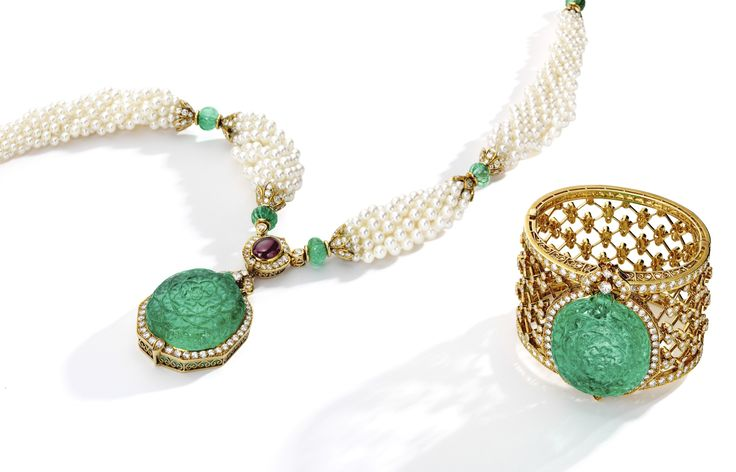 18 Karat Gold, Emerald, Cultured Pearl, Diamond and Ruby Pendant-Brooch, Necklace and Cuff-Bracelet Combination, Van Cleef & Arpels