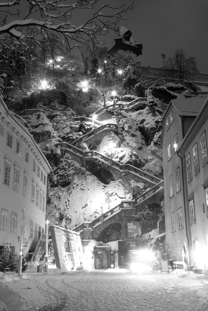 Snow at the Kriegssteig, the stairs to the hill in the center of Graz, Austria.