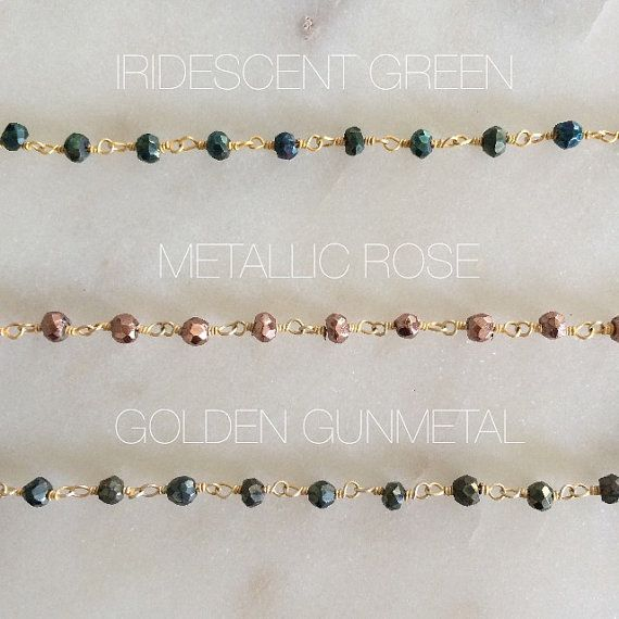 Gemstone Beaded Choker Necklace - Pyrite Gemstone Chain Choker - Boho Jewelry - Delicate Beaded Choker - Minimalist Necklace - Gifts for Her  -----------------------DESCRIPTION-----------------------  A gorgeous beaded choker, so unique and perfect on its own or as a layering piece!  Choose from:  Iridescent Green (green/blue/yellow/purple sheen)  Metallic Rose (copper/rose gold)  Golden Gunmetal (metallic gray with gold sheen) -------------------------SIZE-------------------------  The…