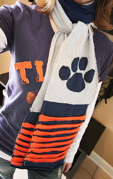 Upcycle old tshirts into a fun ruffled scarf for fall. Perfect for football games!