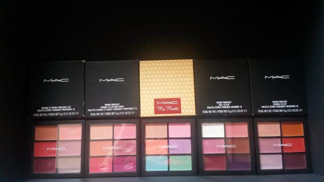 Paletas de labiales de MAC en el blog: https://themagicb.wordpress.com/2015/12/29/mac-trend-forecast-lip-palette/
