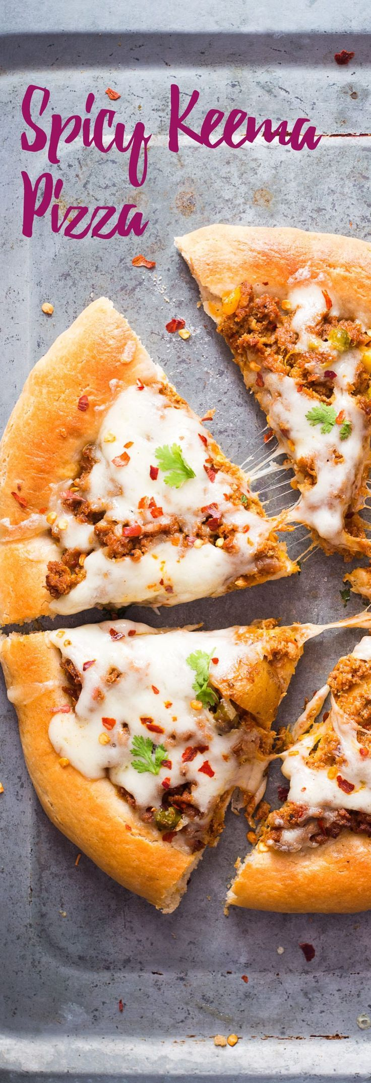 Whole wheat keema pizza is the best way to use up leftover keema! Spicy, hearty and topped with lots of cheese, it's the only thing you need for your next party! Food Photography and Styling by Richa Gupta.