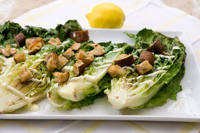 Grilled romaine lemon Caesar salad | GRUB | Pinterest