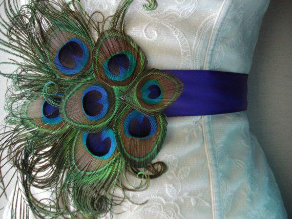 Pavo real boda nupcial faja o cinturón faja de pluma de por Axentz