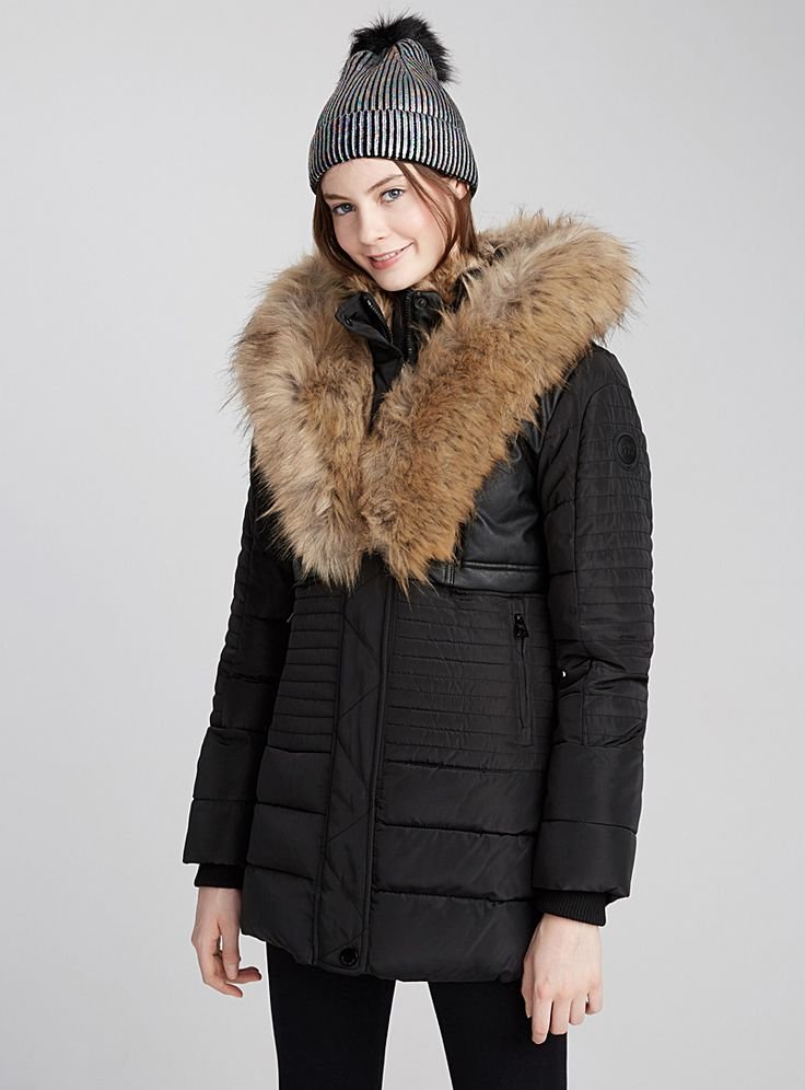Faux-leather block coat - Anoraks and Parkas - Black