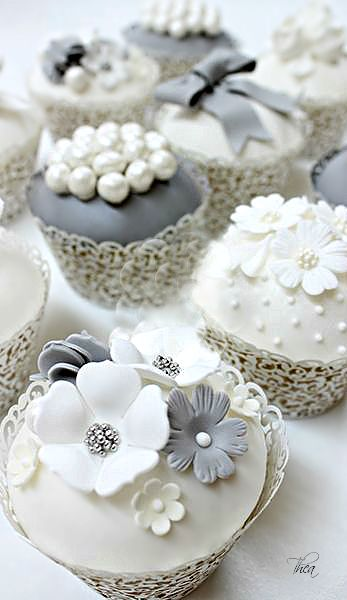 pretty gray and white wedding cupcakes