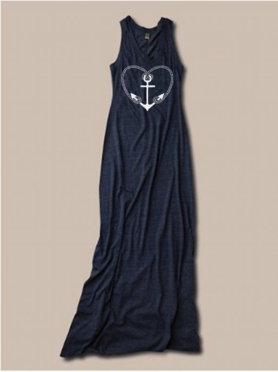 Womens Nautical Anchor Bohemian Alternative Apparel Tank Top Dress screenprint maxi beach coverup S M L XL More colors on Etsy, $30.00