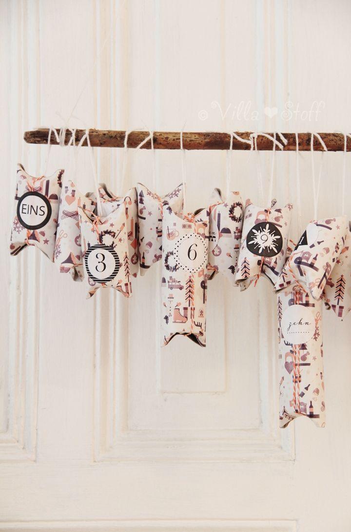 DIY   Adventskalender aus Toilettenpapierrollen
