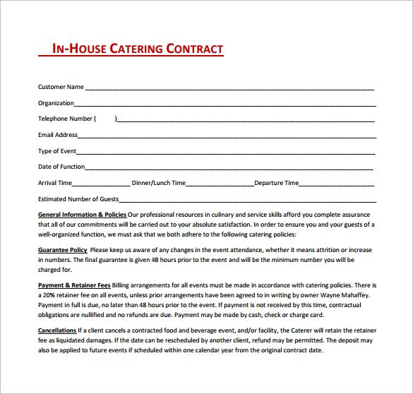 In House Catering Contract Free Download In Pdf