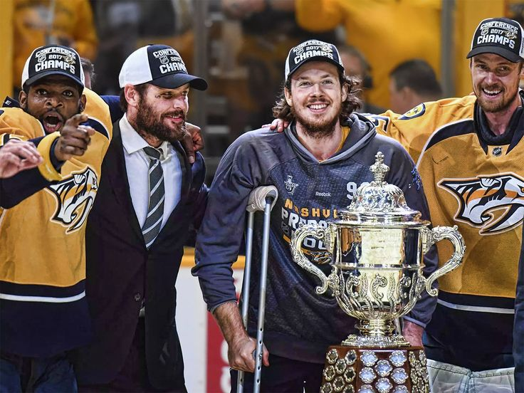 PK Subban, Mike Fisher, Ryan Johansen and Pekka Rinne - Nashville Predators are 2016-2017 Western Conference Champions