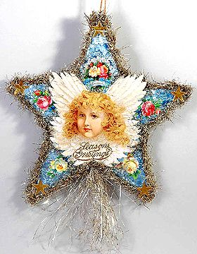 A rare large foiled paper star is re-decorated with a stunning hand-cut antique lithograph Victorian Angel to bring new life to this vintage ornament.