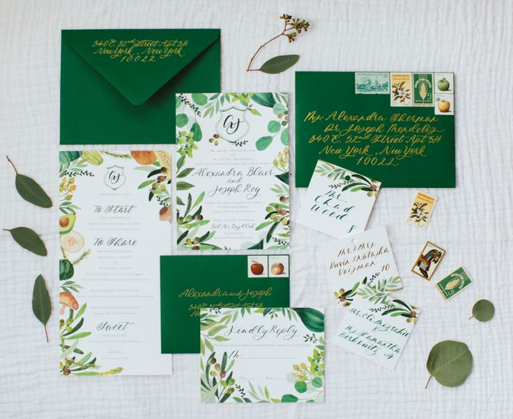 Green and gold wedding stationary: http://www.stylemepretty.com/2016/12/08/pantone-2017-color-of-the-year-greenery-wedding/ Photography: Paige Jones - http://paigejones.us/