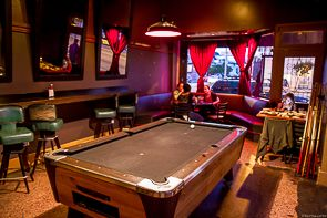 Pool room at Broken Record in SF