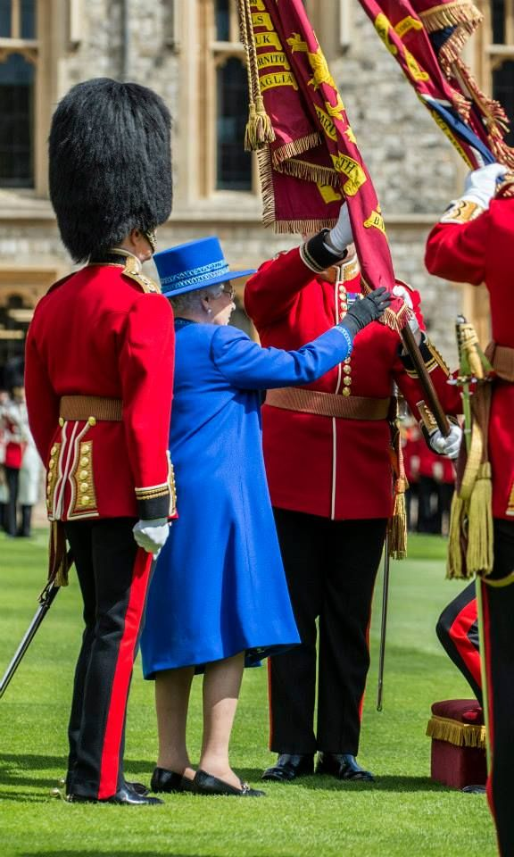 The Queen, Colonel-in-Chief, presented New Colours to the 1st Battalion Welsh Guards at Windsor Castle today,