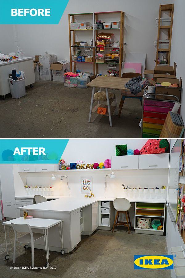 The IKEA Home Tour Squad helped Joy and her team create the ultimate craft room, complete with clever storage solutions and a super functional open concept work station, so they can work more efficiently and take their brand to the next level.