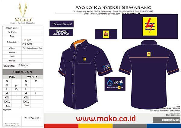 Jual Baju Seragam PLN Rayon Gunung Tua -  Padang Lawas Utara, Sumatera Utara - Indonesia. Jual Kemeja Kerja Warna Biru Navy & Orange + Bordir Logo & Tulisan.