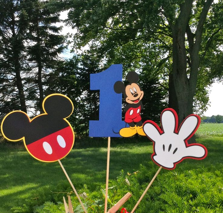 Mickey Clubhouse inspired Age Party Personalized 3pc Centerpiece set.