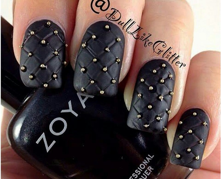Best 25 stud nails ideas on pinterest diy nails black and white black matte nails with gold caviar beads stud studded nail art with quilting quilt lines prinsesfo Gallery
