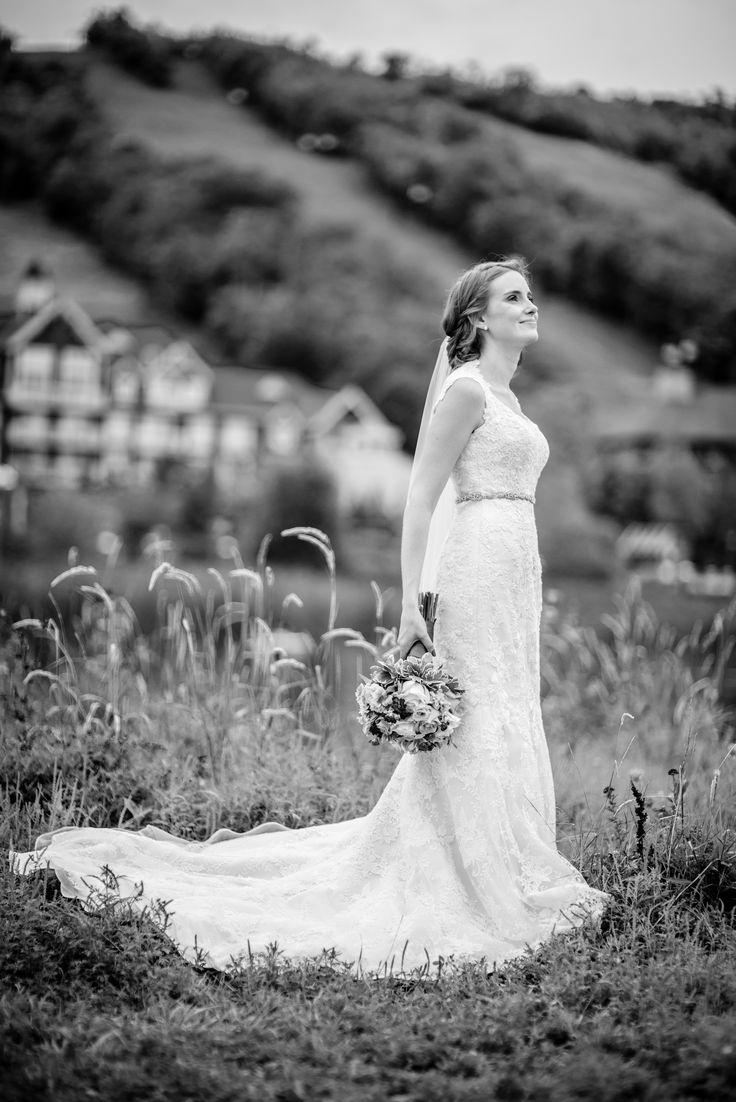 Such a beautiful bride against the Blue Mountain landscape