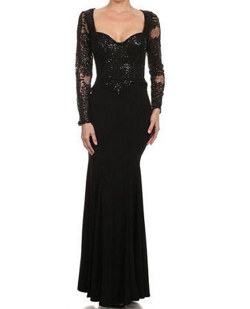 Shop Long Sleeve Black Evening Dress, Shop Formal Dress Miami, Shop Prom Dress Miami, Shop Pageant Dress Miami, Shop Sexy Black Dress Miami