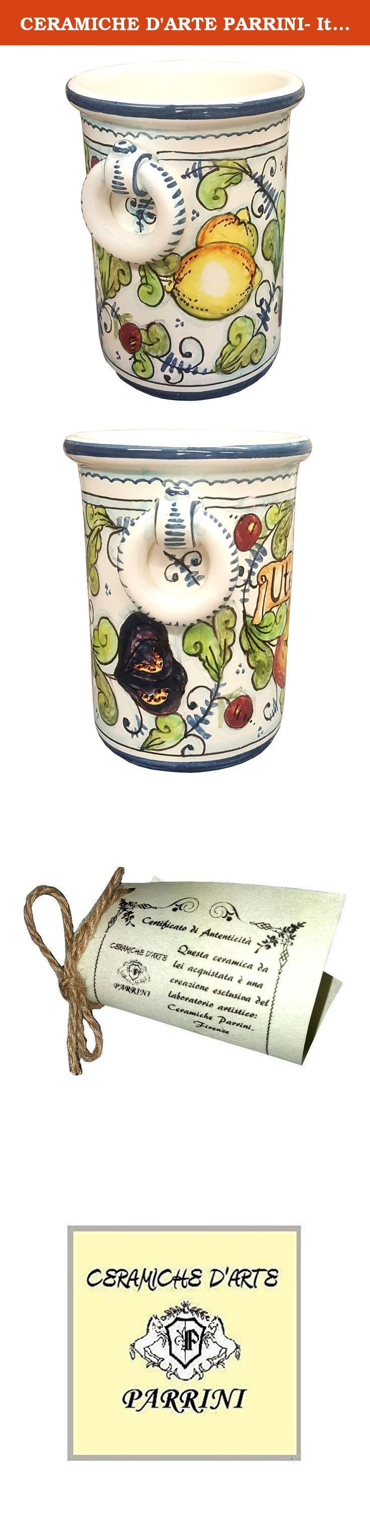 CERAMICHE D'ARTE PARRINI- Italian Ceramic Utensil Holder Vessel Hand Painted Made in ITALY Tuscan Art Pottery. Ceramic Utensil Vessel for any use . Decorations : Branches of lemon,figs,pomegranates on a white ivory frame with blue curls of old. Net weight Kg.0,700, Dimensions: 6.69 h inch x5.51 inch-- By purchasing directly from the manufacturer of Tuscan craft, you can ask if you want, any other customization, or you can buy now so as you see in the picture and you will be sent the day...