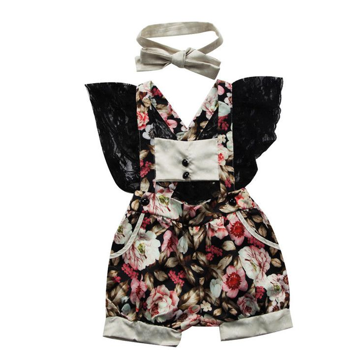 Cute Newborn Baby Girls Suspenders Floral Lace Romper Jumpsuit + Hairband 2Pcs Outfits Clothes Set #Affiliate
