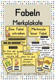 Fabeln Merkplakate – Unterrichtsmaterial im Fach Deutsch
