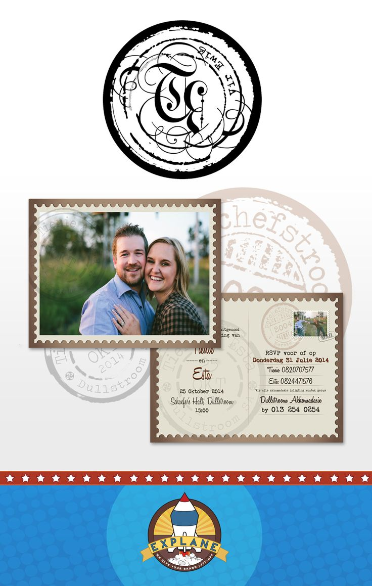 Wedding Logo and Invitation Postcards for Tienie & Esta's wedding that was held in Dullstroom { Full Colour Back to Front A6 Print }