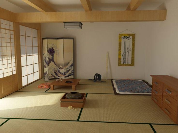 déco maison japonaise: futon dans la chambre traditionnelle