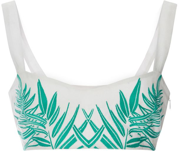 Mara Hoffman Cotton Leaf Embroidered Bralette Top