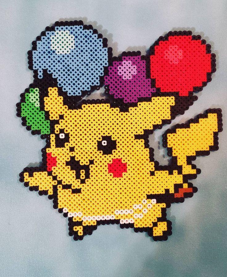 Balloon Pikachu perler beads by evbeadsprites