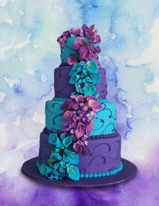 Teal and Purple Lilies | ♡ Wedding cakes ♡ | Pinterest | Purple ...