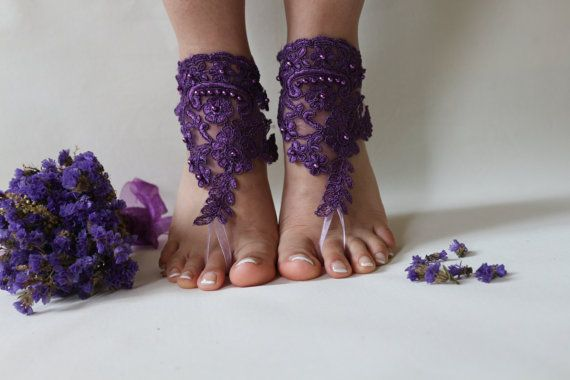 Barefoot Sandals unique design and fairytale wedding on the beach.beach shoes with purple lace bride will have very nice pictures.You will feel like a princess.very comfortable to use and aesthetics. = color options= black, white, pink, champagne, mint green, ivory is available. You can contact me for different colors and sizes.. FREE SHIPPING !  I usually send the Turkish postal services.  Products 24 hours after purchase, mail given product. On weekends given product mail after 48...