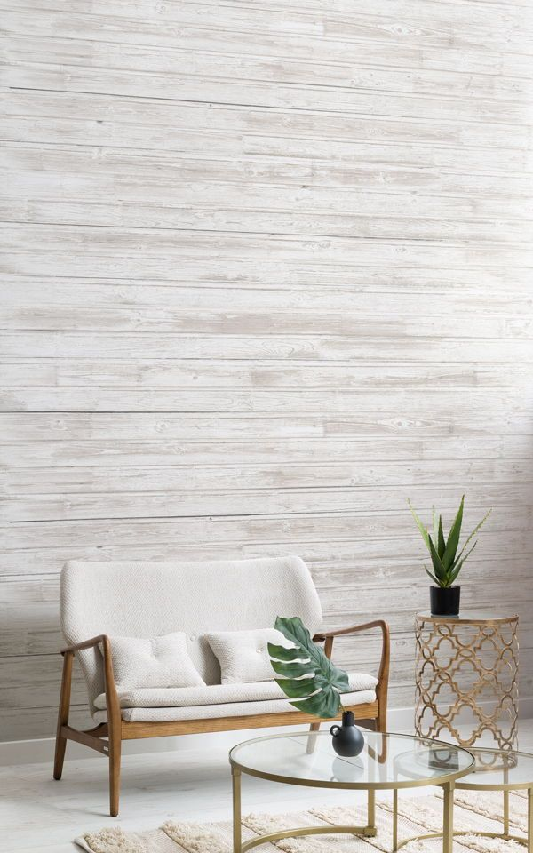 Whitewashed Wood Wallpaper Wooden Effect Design Muralswallpaper Wood Effect Wallpaper Office Wallpaper Scandinavian Style Home