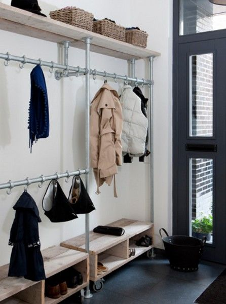 DIY wardrobe made of pipes and pipe connectors
