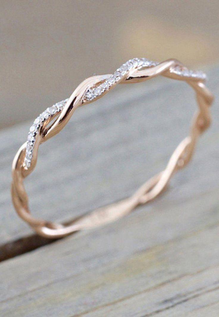 Daphne Dainty Crystal Rose Gold Twist Ring