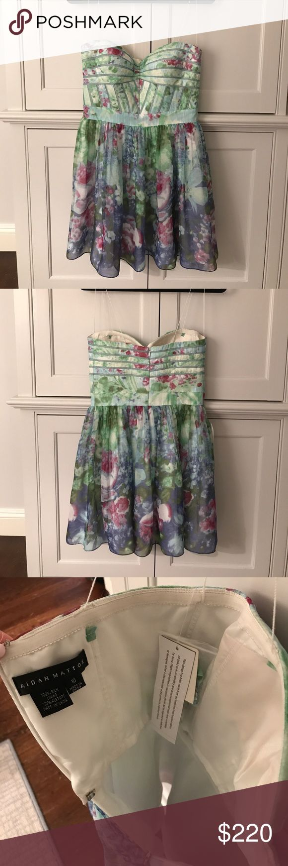 Aidan Mattox strapless floral dress! Beautiful green blue and purple floral dress. Size 10. NEW with tags!!! 26 inches from top to bottom. So pretty for summer! Aidan Mattox Dresses Strapless