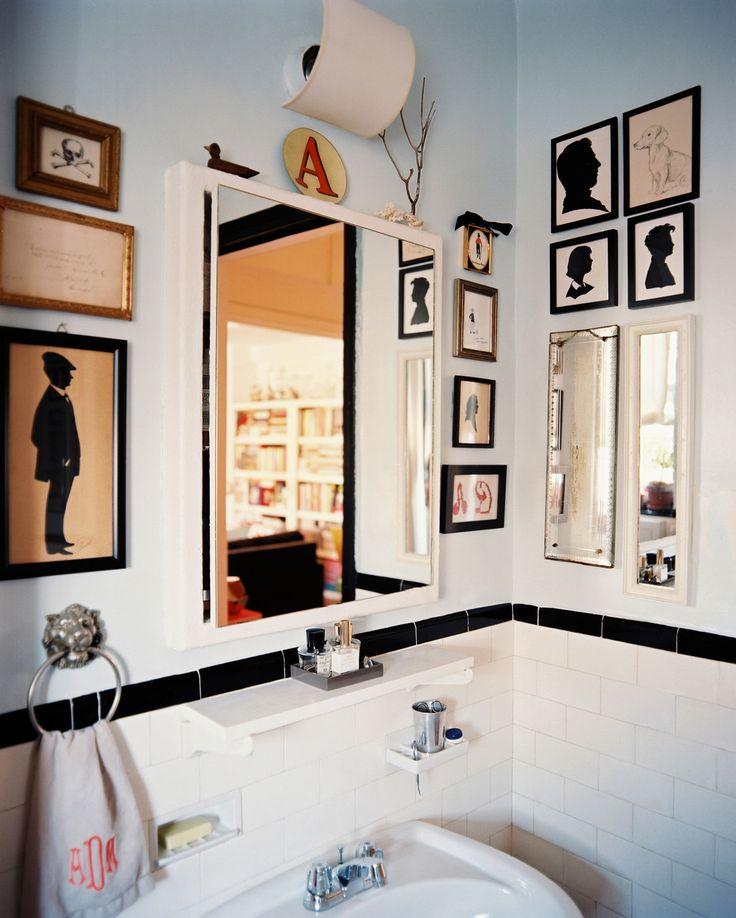 Gallery wall in the bathroom on @Lonny Kronen Magazine