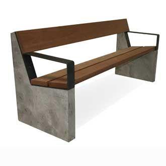 De nieuwe FalcoAzura bank; stoere combinatie van beton met hardhout en staal.