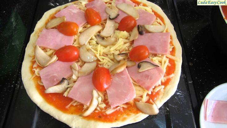 cách làm Pizza dăm bông vs Thịt xông khói Пицца с ветчиной и грибами