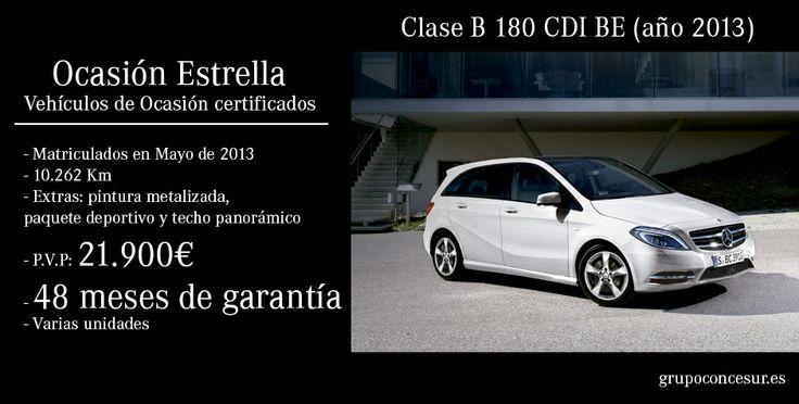 ¡Ocasión Estrella! Vehículos de ocasión certificados #MercedesBenz Clase B 180 CDI, matriculados en mayo de 2013 por tan sólo 21.900€. No pierdas esta oportunidad y consigue el tuyo.