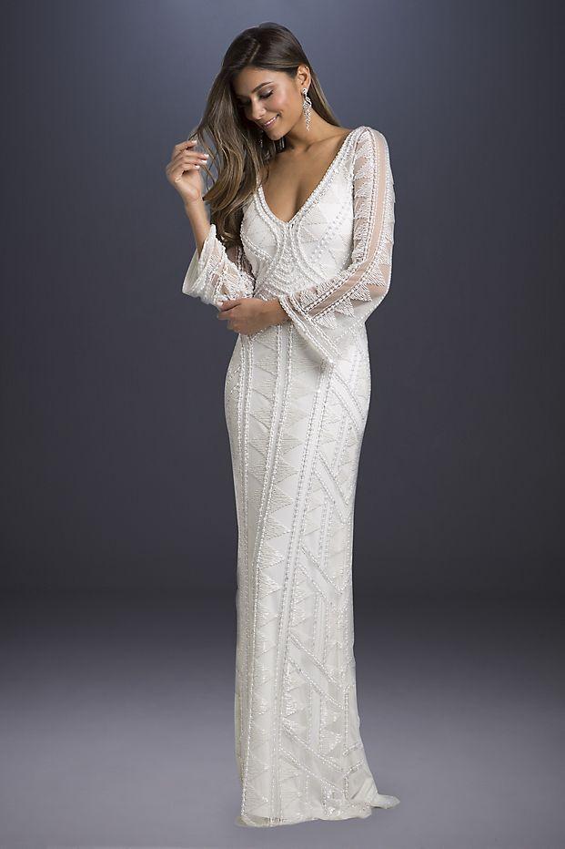 Geometric Beaded Long Sleeve Sheath Wedding Dress David S Bridal Long Sleeve Sheath Wedding Dress Wedding Dresses Beaded Wedding Dress Sleeves
