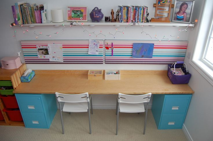 DIY Filing Cabinet Desk. This is an awesome idea. I might do this for the playroom. It would be perfect for crafts with the kids.