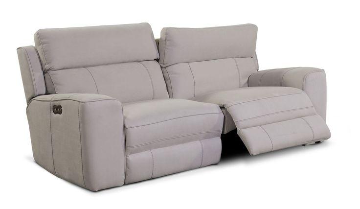 Living Room Furniture - Newport 2-Piece Power Reclining Sofa - Light Gray