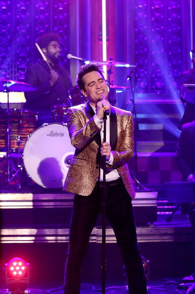 THE TONIGHT SHOW STARRING JIMMY FALLON -- Episode 0606 -- Pictured: (l-r) Brendon Urie of musical guest Panic! at the Disco performs with The Roots on January 19, 2017 -- (Photo by: Andrew Lipovsky/NBC)
