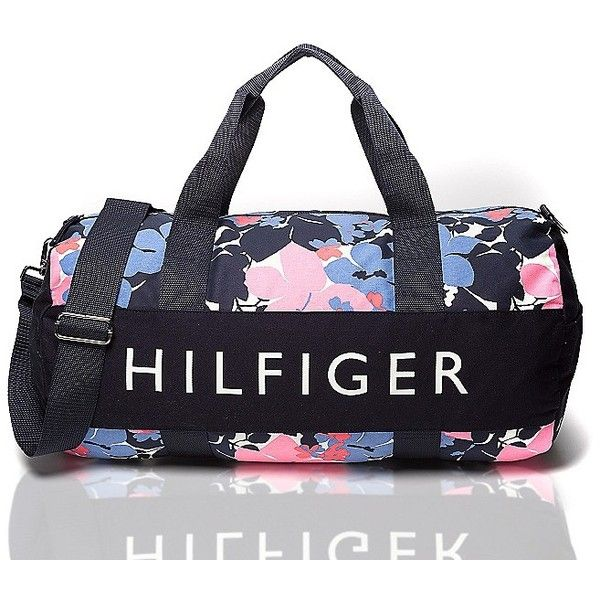 Tommy Hilfiger Hibiscus Signature Duffle ($47) ❤ liked on Polyvore featuring bags, handbags, blue gym bag, tote purse, blue tote bag, duffle bag and tommy hilfiger tote