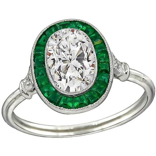 Preowned Stunning 1.31 Carat Diamond Emerald Engagement Ring ($8,250) ❤ liked on Polyvore featuring jewelry, rings, engagement rings, green, pre owned engagement rings, green ring, preowned engagement rings and oval cut engagement rings