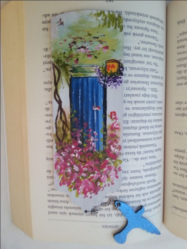 Blue door bookmark, handmade bookmarks, book accessories, book lovers gifts, wooden bookmark, custom design markers, pink bougainvillea by AxiKedi on Etsy
